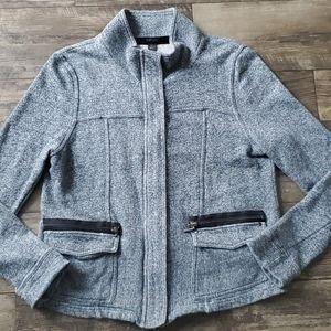 Kensie Pocket Front Chambray Zip Jersey Jacket